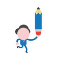 businessman character running and holding pencil vector image vector image