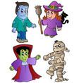 cartoon halloween characters 1 vector image