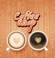 coffee and latte on wooden background vector image