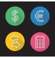 Currency exchange flat linear icons set vector image vector image