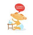 cute baby boy refuse eating toddler happy cartoon vector image vector image