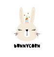 cute bunny unicorn childish print for t-shirt vector image vector image