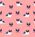 cute pug dog heart sunglasses seamless pattern vector image vector image