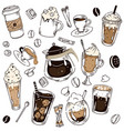 different coffee kind hand drawing layout vector image