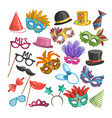different elements for carnival funny masks vector image vector image