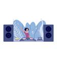 dj set disco party woman plays nightclub stereo vector image vector image