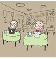 Girl in cafe flirting ogle cartoon vector image