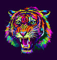 growling tiger abstract multicolored portrait vector image vector image