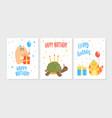 happy birthday card templates set invitation vector image vector image