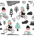 kids on bicycle seamless pattern creative childish vector image