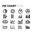 line pie chart icons set vector image