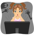 little girl watching horror movie on internet vector image vector image