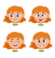 little red-haired girl happy face expression vector image