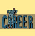 man makes a career barrier vector image vector image