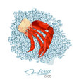 meat crab on ice cubes in cartoon style seafood vector image vector image