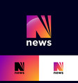news logo n monogram rays network icon vector image vector image