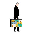 office in case mobile workplace in suitcase vector image vector image