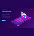 online education or training isometric concept vector image