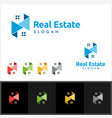 real estate logo with building and home vector image vector image