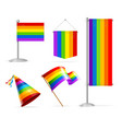 realistic 3d detailed lgbtq rainbow flag banner vector image vector image