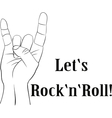 Rock n roll heavy metal sign of the horns line vector image vector image