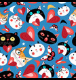 seamless bright pattern funny cats in love vector image vector image