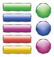 set of colored shiny web glass button with vector image