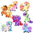 set of colorful little cute ponies and unicorn vector image vector image