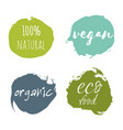 set of vegan eco food bio raw organic green vector image vector image