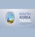 south korea landmarks landscape through airplane vector image vector image