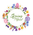 spring mood with spring flowers floral card with vector image vector image