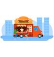 street food hamburger sales park young people vector image vector image