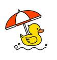 yellow rubber duck icon with beach umbrella vector image vector image