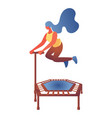 young woman jumping on trampoline flat character vector image vector image