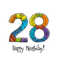 28th anniversary celebration greeting card vector image vector image