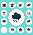 air icons set with misty and cloudy weather vector image