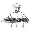 baker man holding basket breads vector image
