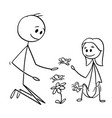 cartoon father and daughter watching flowers vector image