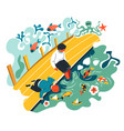 children playing garden with pond with koi fish vector image