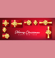 christmas banner gifts box with gold bow vector image vector image
