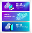 cloud services horizontal banners set vector image vector image