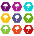 cloud with lightning icon set color hexahedron vector image