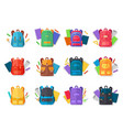 colorful backpacks flat collection vector image vector image