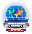 concept of a bus tour around the world vector image vector image