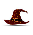 dark red witch and wizards hat with belt and stars vector image vector image