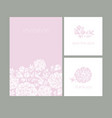 decorative peony silhouette cards set for cards vector image vector image