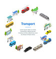 Different types city public transport 3d banner