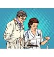 Doctor and nurse looking cardiogram vector image vector image