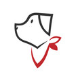 dog with a bandana symbol icon vector image vector image