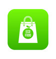 eco food bag icon digital green vector image vector image
